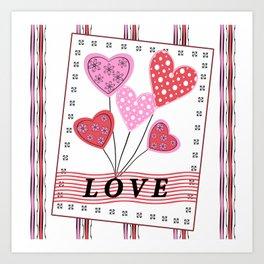 Bright hearts.Love , Valentine's day Art Print