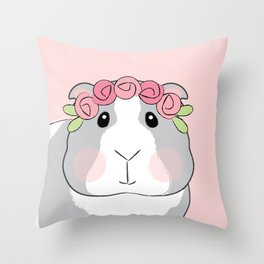 Adorable Grey Guinea Pig with Pink Rosebuds Throw Pillow