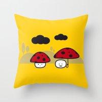 mushroom Throw Pillows featuring Mushroom by pludadesign