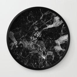 Black and Gray Marble Pattern Wall Clock