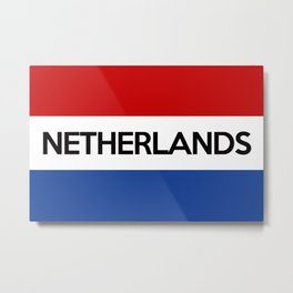 netherlands country flag name text Metal Print