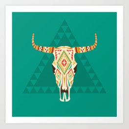Patterned Cow Skull Art Print