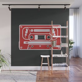 Retro Style Music Cassette in Red Wall Mural