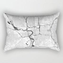Columbus Map Gray Rectangular Pillow