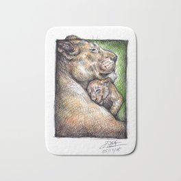 Lioness and Cub Bath Mat