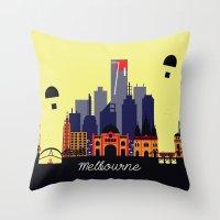 melbourne Throw Pillows featuring Lovely Melbourne by Jollybird Designs