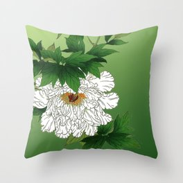 Vintage Japanese Sketch of Large White Peony Throw Pillow