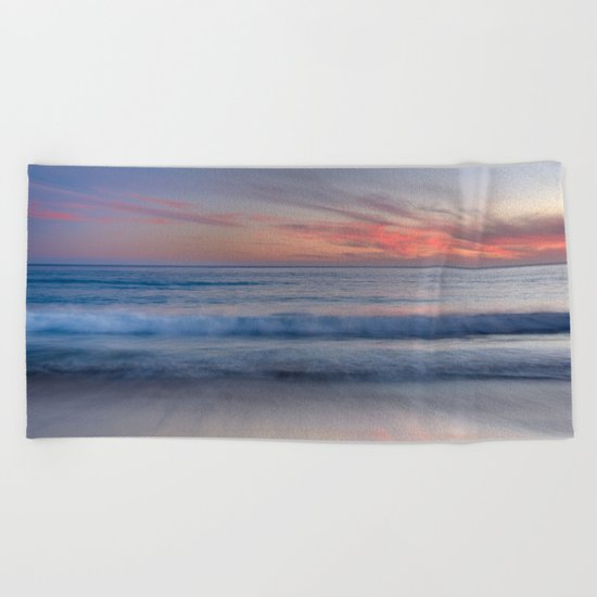 """Magical waves at sunset"" Beach Towel"