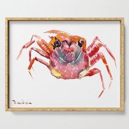 Crab, red pink orange kitchen artwork design Serving Tray