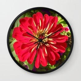 Red Zinnia Wall Clock
