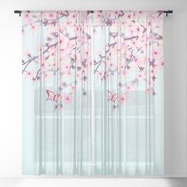 Cherry Blossom Landscape Sheer Curtain