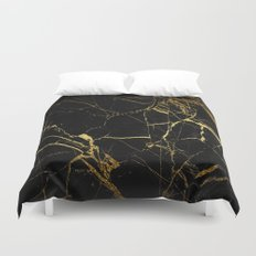 back & gold marble Duvet Cover