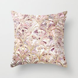 Dusty Rose and Coral Art Deco Marbling Pattern Throw Pillow