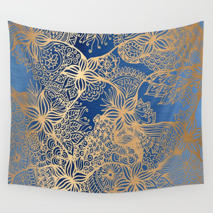 Blue and Gold Zen Doodles Wall Tapestry