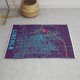 Lincoln Neon City Map, Lincoln Minimalist City Map Art Print Rug