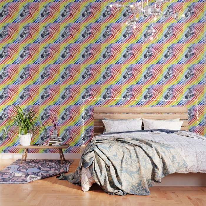 Zebra Rainbow Stripes Colorful Whimsical Animal Wallpaper