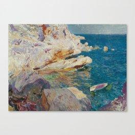 Joaquín Sorolla y Bastida,  Rocks at Jávea and the White Boat Canvas Print