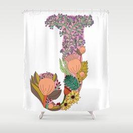 Floral Letter J Shower Curtain