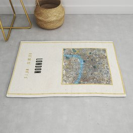 Vintage London Gold Foil Location Coordinates with map Rug