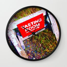 Tasting Room Sign At Ani Che Cellars Wall Clock