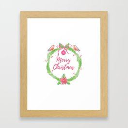 "Watercolor Holly Wreath ""Merry Christmas"" Framed Art Print"