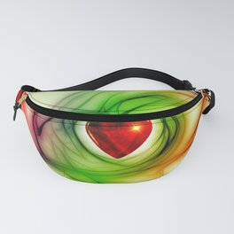 Red Heart with Abstract Background Fanny Pack