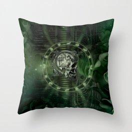 Awesome creepy mechanical skull Throw Pillow
