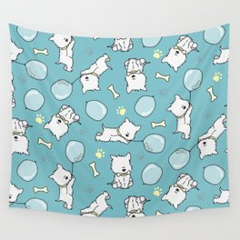 Hungry Westie Puppy Wall Tapestry