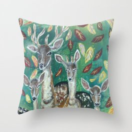 stag and his familly Throw Pillow