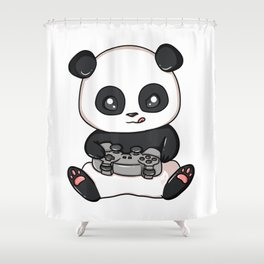 Gaming Panda Shirt Pew Gamer Playing Video Games Tee T-Shirt Shower Curtain