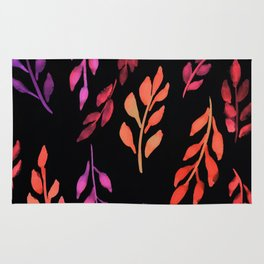 180726 Abstract Leaves Botanical Dark Mode 19|Botanical Illustrations Rug