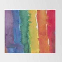 rainbow watercolor Throw Blanket