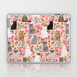 Cat floral mixed breeds of cats gifts for pet lovers cat ladies florals Laptop & iPad Skin
