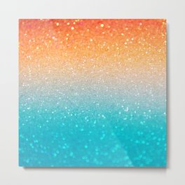 Glitter Teal Gold Coral Sparkle Ombre Metal Print