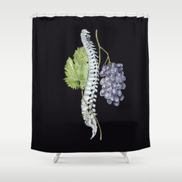 Spine with Grapes: Human Anatomy, Backbone Skeleton Shower Curtain