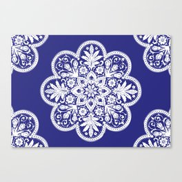 Floral Doily Pattern | Blue and White Canvas Print