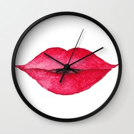 Lips WITH lipstick - watercolor Wall Clock
