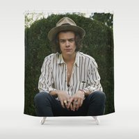 harry styles Shower Curtains featuring Harry Styles by behindthenoise