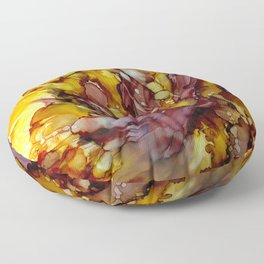 Abstract Floral in Burgundy and Yellow Floor Pillow
