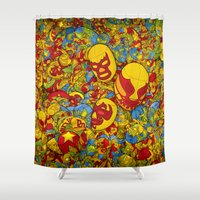 mucha Shower Curtains featuring Mucha Lucha by Guilherme Marconi