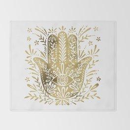 Hamsa Hand – Gold Palette Throw Blanket