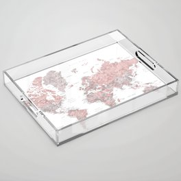 Dusty pink & grey watercolor world map cropped Acrylic Tray