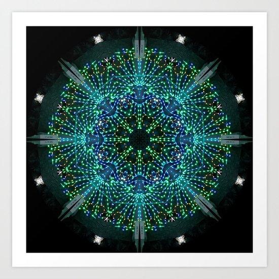 Kaleidoscope fantasy on lighted peacock shape Art Print