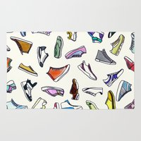 sneakers Area & Throw Rugs featuring sneakers addiction by Federico Faggion