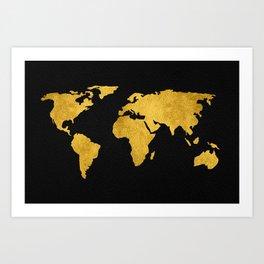 Metallic Gold Foil World Map On Black Art Print