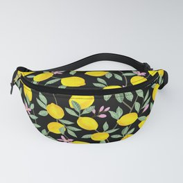 Lemon and Blossoms on Black Fanny Pack