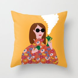 Girl with an Italian coffe maker // Fun everyday illustration Throw Pillow