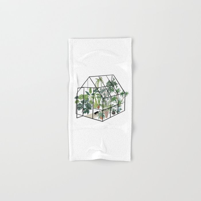 greenhouse with plants Hand & Bath Towel