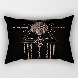 Mandala Flower of Life Rose Gold Pink Rectangular Pillow