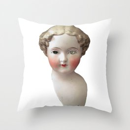 Mentalembellisher Mad-Eyed Victorian Bisque Doll Head Throw Pillow